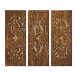 Uttermost - Uttermost Elegant Swirl Panels - S/3 Decorative Wall Art in Crackled Canvas - Shown in picture: Crackled Canvas On Hardback Board-Antique Glaze These panels are hand painted on crackled canvas with an antiqued glaze. Canvas is stretched and mounted on hardboard. Due to the handcrafted nature of this artwork - each piece may have subtle differences.