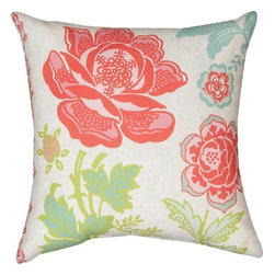 """Manual - Pair of Pink / Green """"Garden Party 1"""" Floral Indoor / Outdoor Throw Pillow - This pair of 18 inch by 18 inch woven throw pillows adds a wonderful accent to your home or patio. The pillows have (No Suggestions) weatherproof exteriors, that resist both moisture and fading. The pillows have the same pink, green and white """"Garden Party 1"""" floral print on both front and back. They have 100% polyester stuffing. These pillows are crafted with pride in the Blue Ridge Mountains of North Carolina, and add a quality accent to your home. They make great gifts for flower lovers."""