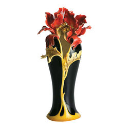 Franz Porcelain - FRANZ PORCELAIN COLLECTION Striking Vermillion Peony Vase FZ00689 - Finished In Lead Free Glazes * Hand Painted By Franz Porcelain Artisans * FDA Approved Food/Plant Safe * New In The Original Box