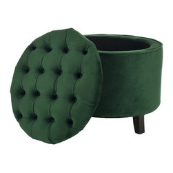 Safavieh - Safavieh Amelia Emerald Tufted Storage Ottoman - This Amelia storage ottoman is transitional in design with a button-tufted, removable quilted top and oak legs with a rich espresso finish. Practical and fashionable, the Amelia tufted ottoman is upholstered in deep green cotton velvet.