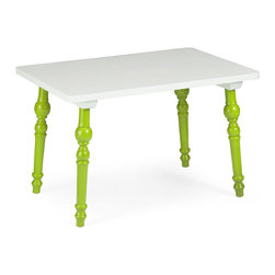 Baby Alta Table, Lime Green - The Baby Alta Table is a colorful modern table for kids. This small yet stylish table is crafted from solid elm wood and is perfectly scaled for our modern kid chairs. Choose from a lime green or red base with a white top. The Baby Alta Table is a stylish destination for homework or play time.