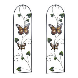 "Pier Surplus - 43""H Colored Metal Butterfly Wall Decor w/ Vines, Set of Two Wall Art #HD229153 - This colorful set of butterflies and vine wall decor has been masterfully crafted from metal and varnished to give it long-lasting color. Each delicate wing has been painted by hand, giving the perception of two graceful creatures that have set down to rest on your wall. Each metal butterfly is easy to maintain; simply wipe off dirt or dust with a mild soap and a damp cloth. A wonderful hostess or housewarming gift!"