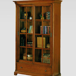 Horchow - Pine Harbour Bookcase - Relaxed office furniture with a transitional look in a warm toasted-oak finish features a selection of pieces so you can configure an office to suite your specific needs. Made of oak solids and veneers. Framed panels and transitional knobs with an age...