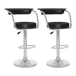 Sonax - Sonax CorLiving Open Back Bar Stool in Black Leatherette (Set of 2) - Sonax - Bar Stools - B107UPD - Add spice to any bar or kitchen island with the Bar Stool featuring a round seat and a stylish curved backrest. Comfortable foam covered with Black soft leatherette upholstery, chrome arm rests, chrome gas lift and chromed support give this chair a smart comfortable look. The contemporary design will accent any decor setting while offering the option to adjust to variable bar heights with ease. A great addition to any home!