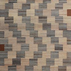 "ALRUG - Handmade Beige/Brown Oriental Kilim  6' 9"" x 9' 11"" (ft) - This Afghan Kilim design rug is hand-knotted with Wool on Wool."