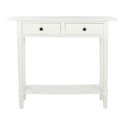 Safavieh - Rosemary Console - Distressed Cream - The Rosemary console, in distressed cream finish, evokes Craftsman style with its clean lines and practical storage. Crafted from pine with two drawers and a bottom shelf, this console will enhance an casual rooms, front entry or hallway with its charm. Minor assembly required.