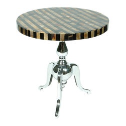 Rojo16 - Horn Table - Rojo 16 Cote D'Azure Horn Table features stylish striped, gold and black top with shiny polished finish metal tripod base that serves as an exclusive Furniture creates a Strong focal point and a dramatic impression in a room, This table has an elegant hint of the French Riviera and its luxurious lifestyle.