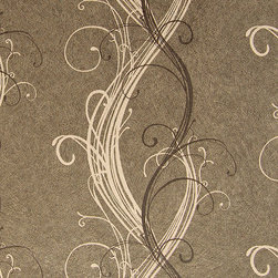 Color Floral Swirl Wallpaper, Tan, Swatch - • Vinyl Covered Paper