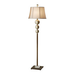 Murray Feiss - 1 Bulb Antique Copper / Silver Leaf Patina Portable Lamp - - cUL Dry Approved.