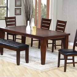 """Coaster - Casual 6 Pcs Dining Set In Rustic Oak - With charming simplicity, this rectangular dining table will make an inviting focal point in your dining room. The unique planked groove table top and bold tapered legs enhance the rustic oak finish, while an 18 inch leaf extends the table from 64 inches to 82 inches. Arrange with matching side chairs and a bench and create an enjoyable dining room atmosphere. 18"""" Extension Leaf; Vinyl Cushion Seating; Rustic Oak Finish; Casual Style; Set Includes: Dining Table, 4 Chairs, 1 Bench. Dining Table: 64""""-82""""L X 42""""W X 30""""H; Dining Chair: 22.25""""L X 18.75""""W X 40""""H; Bench: 48""""L X 16""""W X 18""""H; Seat Height: 18""""; Seat Depth: 17.75""""."""