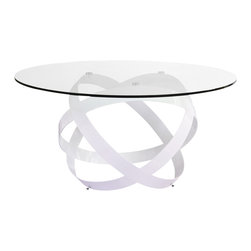 Zuri Furniture - Mambo Clear Glass Top Dining Table - Ready for a whirlwind of eye catching movement? The Mambo dining table boasts a solid clear 59 inch glass top supported from below by several matte white ribbons of quality steel. Sure to garner an eyeful at your next social function as well, This Mambo will never disappoint your partner.