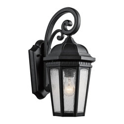 Kichler - Kichler Courtyard 1-Light Textured Black Hanging Lantern - 9033BKT - This 1-Light Hanging Lantern is part of the Courtyard Collection and has a Textured Black Finish. It is Outdoor Capable.