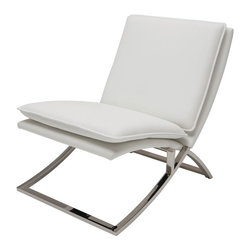 Nuevo Living - Neo Lounge Chair in White by Nuevo - HGTA973 - The Neo Lounge Chair in White features a naugahyde (vinyl) upholstered seat with CFS foam and a high polish stainless steel base