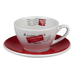 Konitz - S/4 Amore Mio Cafe Creme Cups & Saucers - If there's anything that's a first-class priority for you in the mornings, it's that first cup of coffee. This charming cup and saucer look as if they've been sent, with love, from the land where they know just how important coffee is.