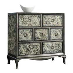 Silver Nest - Jannell Chest - Dark Silver Floral Patterned Chest with Circle Drawer Pulls