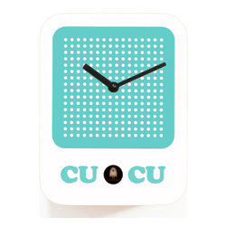 Progetti - Cucuradio 2225 White Wall Clock - Simple shape with iconic graphic, a radio in the '60s-style dress the cuckoo clock designed by Francesca Macchi. Nice object with sleek and compact size are placed in a harmonious way inside homes and offices giving a touch of originality and color. The structure is made of wood with the bird positioned in the lower center part. Battery quartz movement. The Cuckoo strike is switched off automatically during the night controlled by a light sensor.