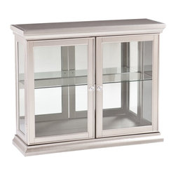Upton Home - Upton Home Bordeaux Silver Double Door Cabinet - Add a touch of glamour to your living area with this traditionally styled curio featuring a silver finish. Matching shoe and crown molding are complemented by glass paned doors and side panels that draw the eye to your collectibles