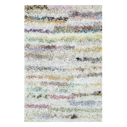 """Loloi Rugs - Loloi Rugs Eliza Shag White Modern / Contemporary Hand Woven Rug X-050300HW10-IE - Get ready for a small rug that makes a big impact. Available in 2'3"""" x 3'9"""" and 3' x 5' scatter sizes, Eliza Shag is perfect for refreshing your kitchen, bathroom, or bedside with a pop of color. In fact, Eliza Shag doesn't just come in color, it's practically made of it. That's because most of the repurposed polyester fabric is hand dipped into rich dye lots and then hand woven together in India. The result is gorgeous colors - serene ocean blue, warm paprika, and elegant ivory - and a fun ruffled texture that's going to uplift the entire mood of your room."""