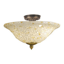 Dale Tiffany - Dale Tiffany 8565/3LTF Mosaic/Clear Flush Mount from the Mosaic Collection - Mosaic/Clear Flush Mount from the Mosaic CollectionFeatures: