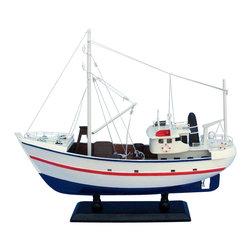 "Handcrafted Model Ships - Fine Catch 17"" - Wooden Model Fishing Boat - Not a model ship kit"