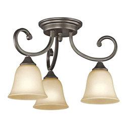 Kichler Lighting - Kichler Lighting 43174OZ Feville Olde Bronze Semi-Flush Mount - Kichler Lighting 43174OZ Feville Olde Bronze Semi-Flush Mount