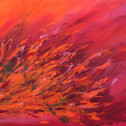 "36"" x 24"" Cheerful by Preethi: Original Large Modern Painting - Title: Cheerful"