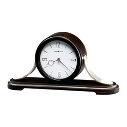 "Howard Miller - Callahan Mantel Clock in Black Coffee Finish - Contemporary wood and metal mantel clock with curved brushed Nickel finished metal sides is finished in Black Coffee on select Hardwoods and Veneers. The White dial features embossed, satin Nickel finished Arabic numerals and hour markers, a Black minute track, a wood bezel, satin Nickel hour and minute hands and a convex Glass Crystal. Quartz, triple-chime Harmonic movement, plays your choice of Westminster, Ave Maria, or Bim-Bam chimes with volume control and automatic nighttime chime shut-off option. Requires two ""C"" size batteries (not included). 18 in. W x 4 1/2 in. D x 8 3/4 in. H"