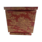 Used Chinese Style Toile Covered Nightstand - This simple Mid-Century Modern nightstand by American of Martinsville was given new life and panache with a makeover in a Chinese themed orange toile wallpaper.     The nightstand rests on a recessed two-tier base and features three drawers; the soft arc of the the top and bottom drawers contrast with the square lines of the unit. A vibrant orange and beige Chinese themed toile wallpaper was meticulously laid to showcase its pattern. One level of the base and the drawer tops and bottoms were painted in coordinating solid orange to frame the piece.    It is absolutely charming.