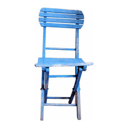 Painted Bistro Chair - French cafe chair. Unique blue color - beautifully aged and chipped.
