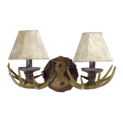 Craftmade - Craftmade Frontier 194 Series 2-Light Traditional Wall Sconce X-2BE21491 - Look no further than this Craftmade Frontier 194 Series 2-Light Traditional Wall Sconce if you need a bold and rustic piece. It has a nature-inspired frame with a European bronze finish and two brown shades. It's a perfect piece for a home or lodge with a mountain cabin theme, and one that will surely stand out in any room.