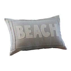 Taylor Linens - Natural Beach Pillow - The sand, the sun, the lapping waves — you can get that beach feeling anytime (minus the gulls) with this pillow. Natural linen and cotton cover a 100 percent white feather and down fill and feature trim and letter details. Your sofa, bed or bench will dig this sandy softness.