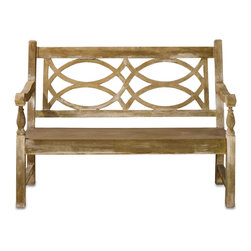 Currey & Company - Hatfield Bench - Traditional English garden bench has a classic look, but the unusual appeal of concrete. It is the right size for many settings.