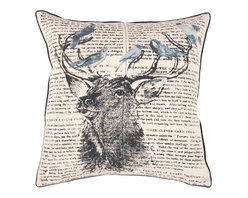 "Surya - Surya HH-116 18"" x 18"" Down Feathers Pillow Kit - A mighty buck is the centerpiece of this pillow with lovely birds perched on his antlers. They have a backdrop of text. Colors of khaki, coal black, cloud blue, and dark slate blue accent this decorative pillow. This pillow contains a down fill and a zipper closure. Add this 18"" x 18"" pillow to your collection today."