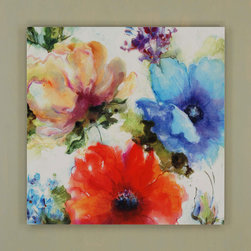 Paragon Decor - American Watercolors - Bold flowers are stacked on a green painted board.
