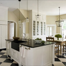 eric_roth_kitchen_white_traditional_cabinets_check_checkered_tile_floor_black_gr
