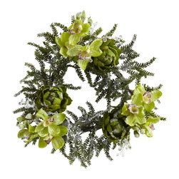"22"" Iced Cymbidium and Artichoke Wreath - Here's an unusual combination that really works well together. It combines the beauty of the Cymbidium orchid with a circlet of pine sprigs, full-bloomed artichokes and a winter ""Icy "" feel. Why artichokes? Well, just take a look at them and see how well it works here. And you thought they were just for eating! The best part is this is a 4-season wreath, looking equally good in the sunny seasons as well as the snowy ones. And it'll never dry out, so display it year after year. Height= 22 In. x Width= 22 In. x Depth= 22 In."