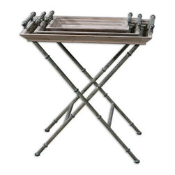 Uttermost - Uttermost Coyne Tray Table - 24260 - -Folding iron base and tray handles in distressed verdigris bronze with two trays and table top made of solid, weathered fir wood.