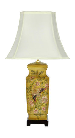 "Oriental Furniture - 27.5"" Birds and Flowers Wooden Design Porcelain Lamp - Beautiful square porcelain jar lamp with an elegant hand painted birds and flowers design. Delightful Asian art influence for the living room or bedroom; ideal for both formal and casual home and office decor. Includes rosewood stain lamp base, lamp shade, harp and finial configured as shown."
