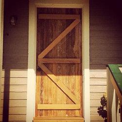 Custom Exterior Barn Style Door: Reclaimed Cypress - Custom built exterior door using Reclaimed Old Growth Cypress.