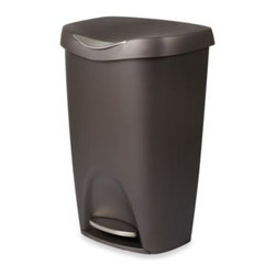 Umbra - Umbra Brim 13-Gallon Step Waste Can - Practical and stylish, this Step Waste Can blends in with any decor. Pedal-operated lid for easy disposal and the retention ring holds gargage bag in place.