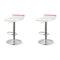 Furnituremaxx - Adjustable Height Swivel Barstools, White and Red, Set of 2 - The White & Red Thin Seat Bar Stool is a unique, contemporary addition to your home. The backless curved ABS seat, round sturdy footrest and height adjustable lever provides both style and function. An eye-catching, versatile white, Red and chrome easily complements your homes existing decor. Seat adjusts with a gas-lift mechanism.