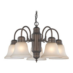 Design Classics Lighting - Mini-Chandelier with Caramel Glass in Bronze Finish - 709-220 GL1032-CAR - Traditional neuvelle bronze 5-light chandelier with caramelized bell glass shades. Takes (5) 100-watt incandescent A19 bulb(s). Bulb(s) sold separately. UL listed. Dry location rated.