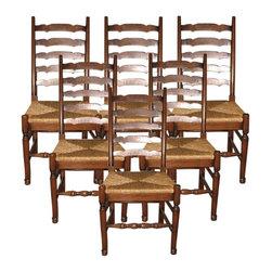 EuroLux Home - New Chair Oak Queen Anne Set 6 Oak Ladder - Product Details