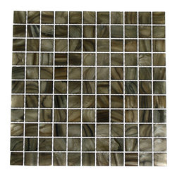 "Mother Of Pearl Smoked Wood Tile - MOTHER OF PEARL SMOKED WOOD GLASS TILE These Glass tiles give a luminescent quality to any bathroom, kitchen or pool installation. Sold in sheets of 12 "" x 12\"" mesh backed sheets. Centers: N/A Length: 1\"" Width: 2 \"" Diameter: N/A Projection: 2mm\"" Finish Shown: Colored stained shell glass in a brown/gray color mix. Please note each lot will vary from the next. This tile is not recommended to be installed in a shower, shower floor or pools. -Glass Tile -"