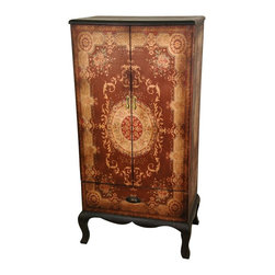 Oriental Unlimted - 2-Door Olde-Worlde European Cabinet - A large and well built double door cabinet with a lower drawer. A distinctive and beautiful medallion pattern mirrored on the double doors. Rich warm colors. Elegantly accented by Black lacquered Queen Ann legs and apron. Beautifully proportioned. Practical size and shape with lots of useful storage. Decorative design on wonderfully textured and durable faux leather. No assembly required. Over-all: 23.25 in. W x 15 in. D x 47 in. H (51.5 lbs.). Each shelf: 21 in. W x 13.5 in. D x 15 in. H. Drawer: 19.76 in. W x 12.5 in. D x 5.5 in. H