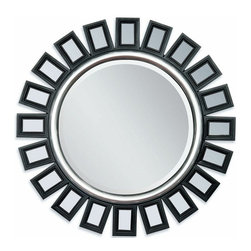 "Acme - Black and Silver Finish Sunburst Geometric Design Hanging Wall Mirror - Black and silver finish sunburst geometric design hanging wall mirror. Measures 36"" Dia."