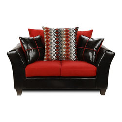Chelsea Home - 34 in. Cynthia Upholstered Loveseat - Includes toss pillows. Vinyl, 100 % poly fabric. Kiln dried hardwoods frame. 1.5 density dacron wrapped cushions. Medium seating comfort. N sag steel springs provide comfortable and uniform seating. Denver black, flatsuede graphite, cogee B and W red cover. Made in USA. No assembly required. 57 in. L x 34 in. W x 34 in. H (125 lbs.)