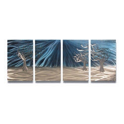 Miles Shay - Metal Wall Art Decor Abstract Contemporary Modern Sculpture- 3 Trees Blue - This Abstract Metal Wall Art & Sculpture captures the interplay of the highlights and shadows and creates a new three dimensional sense of movement as your view it from different angles.