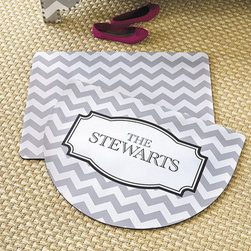 Ballard Designs - Chevron Personalized Comfort Mat - Great housewarming gift. Machine wash. Made in the USA. Get comfortable with one of our favorite geometrics with this Personalized Chevron Mat. The spongy rubber back is extra thick, so you can stand, prep and cook in comfort for longer periods. Personalize it for a fun custom look. Specify your name for personalization; For Demilune and Small, specify up to 10 numbers or letters; up to 18 numbers or letters for Medium. Personalize Chevron Comfort Mat features: . . .