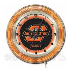 Holland Bar Stool - Holland Bar Stool Clk19OKStUn Oklahoma State 19 Inch Neon Clock - Clk19OKStUn Oklahoma State 19 Inch Neon Clock belongs to College Collection by Holland Bar Stool Our neon-accented Logo Clocks are the perfect way to show your school pride. Chrome casing and a team specific neon ring accent a custom printed clock face, lit up by an brilliant white, inner neon ring. Neon ring is easily turned on and off with a pull chain on the bottom of the clock, saving you the hassle of plugging it in and unplugging it. Accurate quartz movement is powered by a single, AA battery (not included). Whether purchasing as a gift for a recent grad, sports superfan, or for yourself, you can take satisfaction knowing you're buying a clock that is proudly made by the Holland Bar Stool Company, Holland, MI. Clock (1)